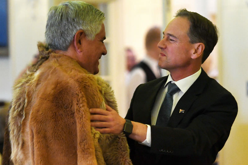 Ken Wyatt (left) and Greg Hunt at Government House in Canberra on 29 May 2019. (Photo by Tracey Nearmy/Getty Images)