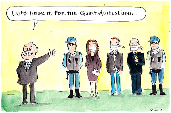 In this Fiona Katauskas cartoon, Scott Morrison applauds 'quiet Australians', who turn out to be gagged and censored journalists.