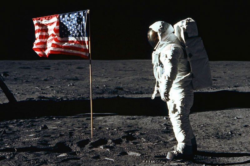 Buzz Aldrin, lunar module pilot, walks near the lunar module during the Apollo 11 extravehicular activity. (NASA file photo)