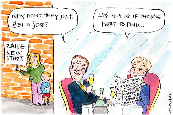 In this Fiona Katauskas cartoon, Christopher Pyne is drinking champagne with Bronwyn Bishop. He looks at a mother and child holding a 'raise newstart' placard and says 'why don't they just get a job'. Bishop replies 'It's not as if they're hard to find'
