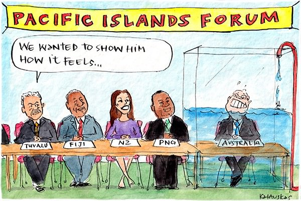 In this Fiona Katauskas cartoon, Scott Morrison, attending the Pacific Islands Forum, has been placed in a tank that is slowly filling up with water. Representatives from Fiji, NZ and PNG watch on. The rep from Tuvalu states: 'We wanted to show him how it feels'.