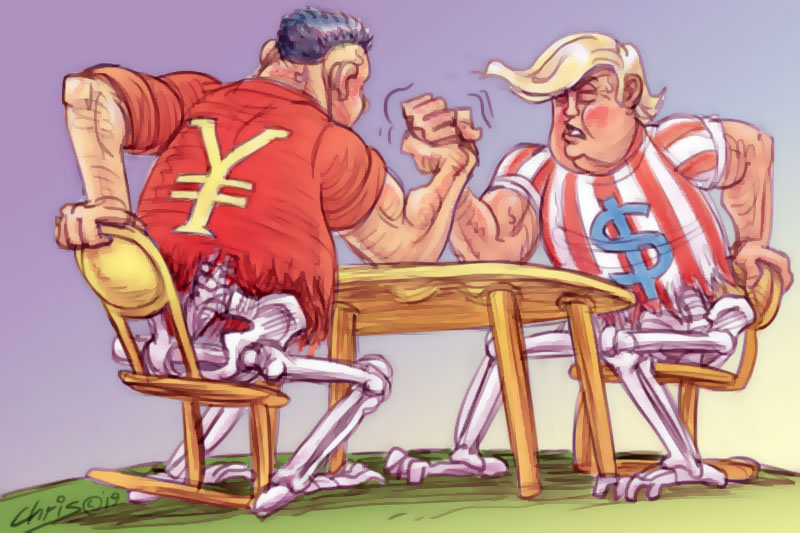 Figures representing US and China economies engage in an arm wrestle. While their upper bodies are bulky, their lower bodies are emaciated. Cartoon by Chris Johnston