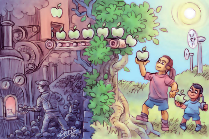 Woman and child picking apple from a construction line (Original art Chris Johnson)