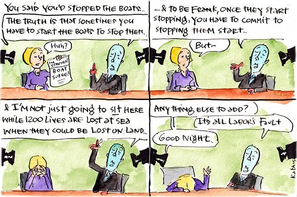 In this Fiona Katauskas cartoon Peter Dutton gives illogical answers to questions during a TV interview about stopping asylum seeker boats.