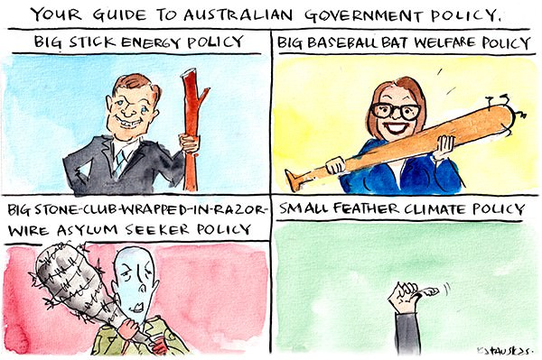 This Fiona Katauskas cartoon compares the government's 'big stick' energy, welfare and asylum seeker policies with its 'little feather' climate policy.
