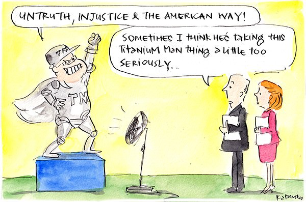 In this Fiona Katauskas cartoon, Scott Morrison wearing a metallic superhero suit declares 'untruth, injustice and the American way'. An onlooker says 'Sometimes I think he's taking this Titanium Man thing a little too seriously.'