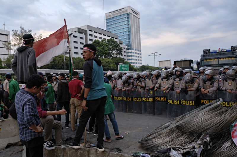 Students protest in Jakarta on 27 September 2019.(Photo by Ed Wray/Getty Images)
