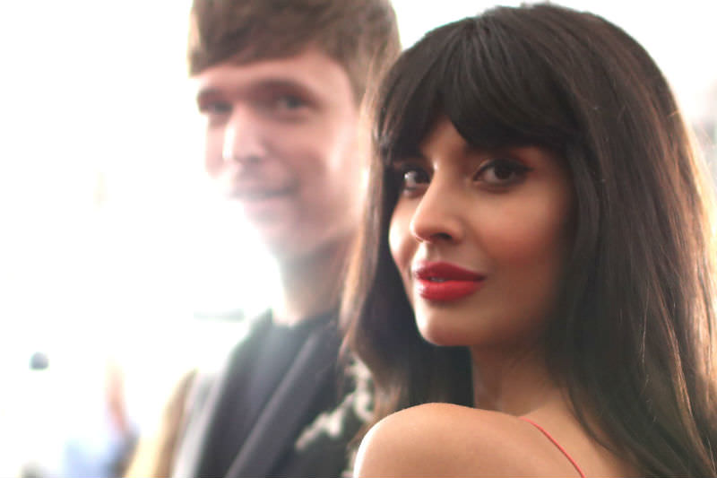 Jameela Jamil (right) and James Blake attend the 61st Annual Grammy Awards in Los Angeles in February 2019. (Photo by Rich Fury/Getty Images for The Recording Academy)
