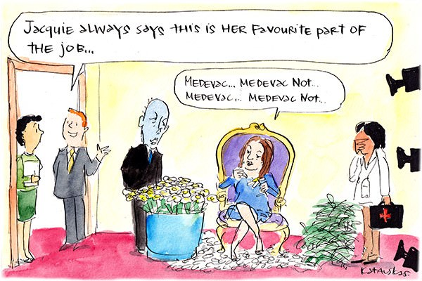 In this Fiona Katauskas cartoon, Jacqui Lambie pulls petals off flowers chanting 'Medevac ... Medevac not ...' A staffer observes that it is her favourite part of the job.
