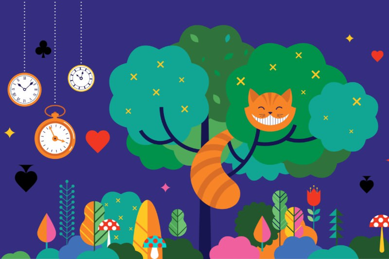 Alice in Wonderland artwork featuring Cheshire Cat grinning in a tree. (Credit: ma_rish / Getty)