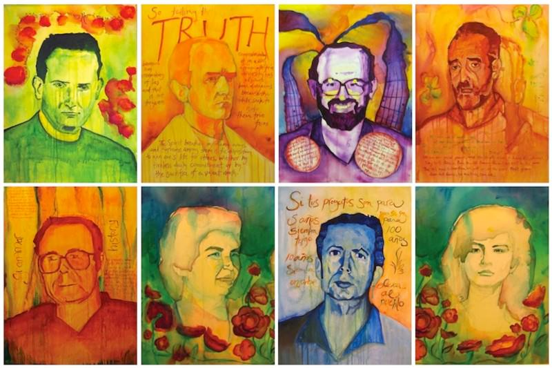 Portaits of the El Salvador martyrs by Mary Pimmel.