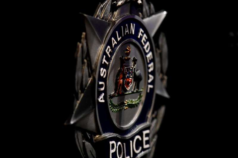 Oblique angle of an Australian Federal Police badge. (Credit: Getty Images)