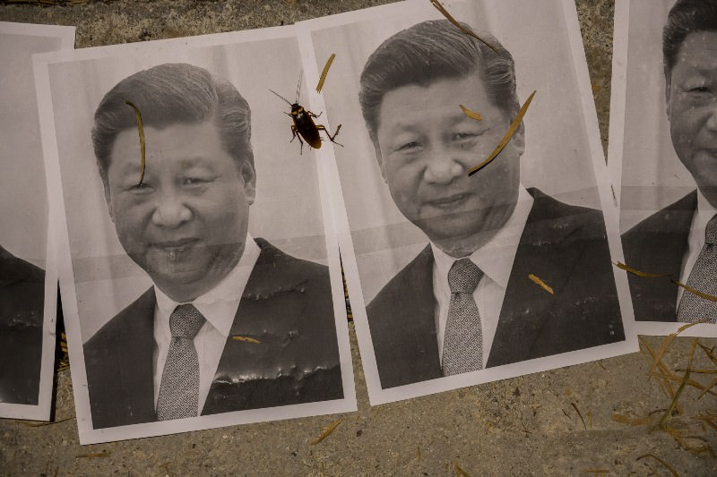 Posters of Xi Jinping seen during a rally to support two imprisoned Uyghur professors and the Hong Kong anti extradition bill movement, at the Chinese University of Hong Kong in September 2019. (Photo by Billy H.C. Kwok/Getty Images)