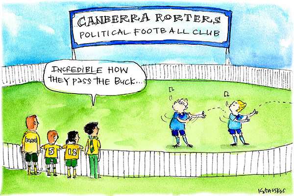 In this Fiona Katauskas cartoon, Scott Morrison and Bridget McKenzie 'pass the buck' on a sports field at the 'Canberra Rorters Political Football Club'.