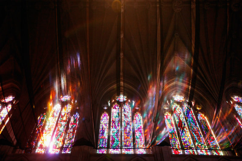 Stained glass windows emit a rainbow glow (Getty Images/ Chip Somodevilla)