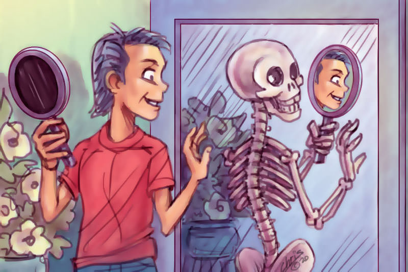 A person looking into a mirror, with a skeleton relflected back at them (Illustration by Chris Johnston)