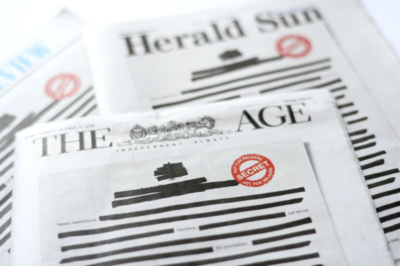 Victorian newspapers in the Right to Know coalition blacked out their front pages (Getty Images/Quinn Rooney)