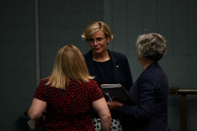 Independent MP Zali Steggall leaves the House of Representatives after a division at Parliament House on February 11, 2020 in Canberra. (Photo by Tracey Nearmy/Getty Images)