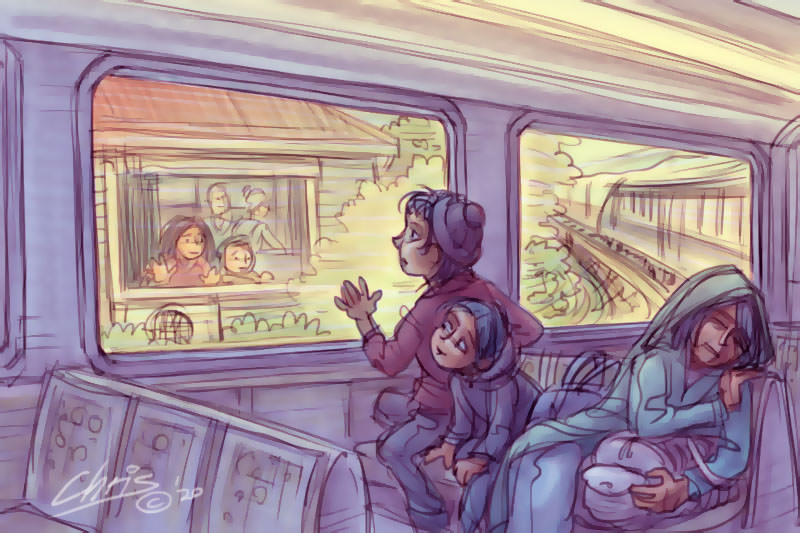 Children on a train with their mother look at children in a house. Illustration by Chris Johnston