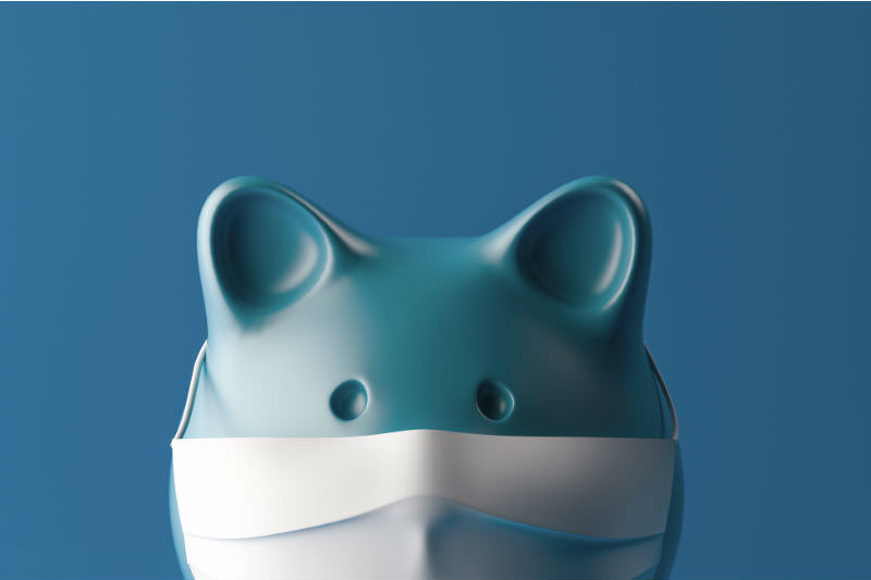 Main image: Blue piggybank wearing facemask (Getty images/ bob_bosewell)