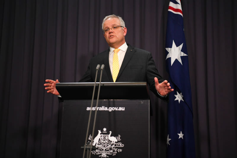 Scott Morrison at press conference (Getty images)