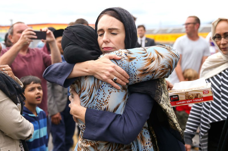 Prime Minister Jacinda Ardern hugs a mosque-goer at the Kilbirnie Mosque on March 17, 2019  (Getty images/Hagen Hopkins )