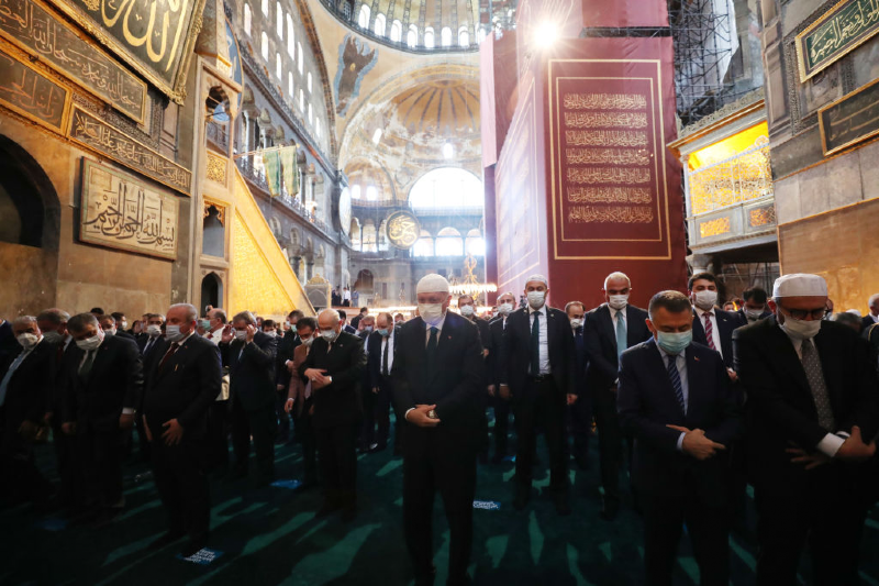 Main image: Erdogan at Friday prayers in Hagia Sophia (Turkish Presidential press office/Getty Images)