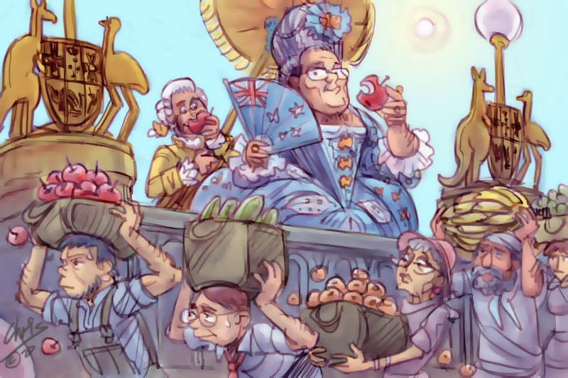 An illustration of Scott Morrison as Marie Antoinette as people carry fruit below him. Illustration by Chris Johnston