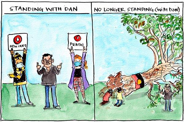 In this Fiona Katauskas cartoon, the first panel under the subtitle 'Standing with Dan' has Daniel Andrews thumbs up with two people holding signs reading 0 new cases and 0 deaths. The second panel under the subtitle 'No longer standing (with Dan)' the sacred direction tree has been chopped down with two people mourning it. Daniel Andrews shrugs awkwardly.