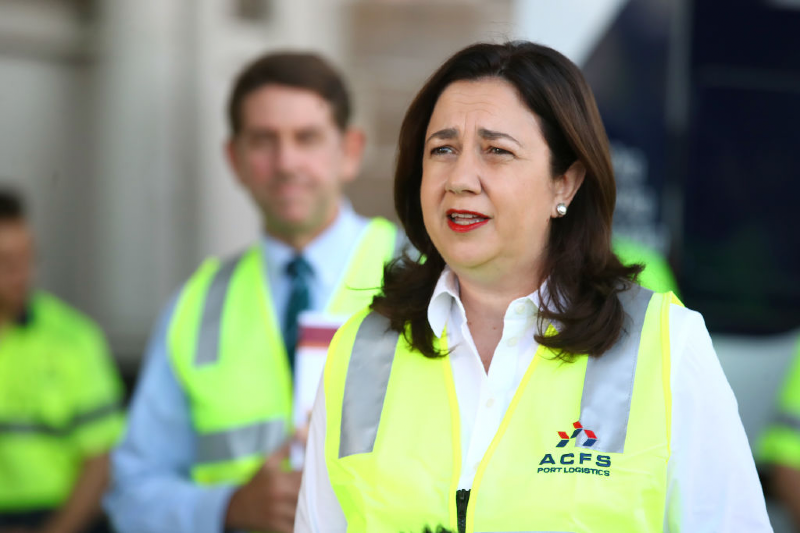 Premier Annastacia Palaszczuk speaks during a press conference (Jono Searle/Getty Images)