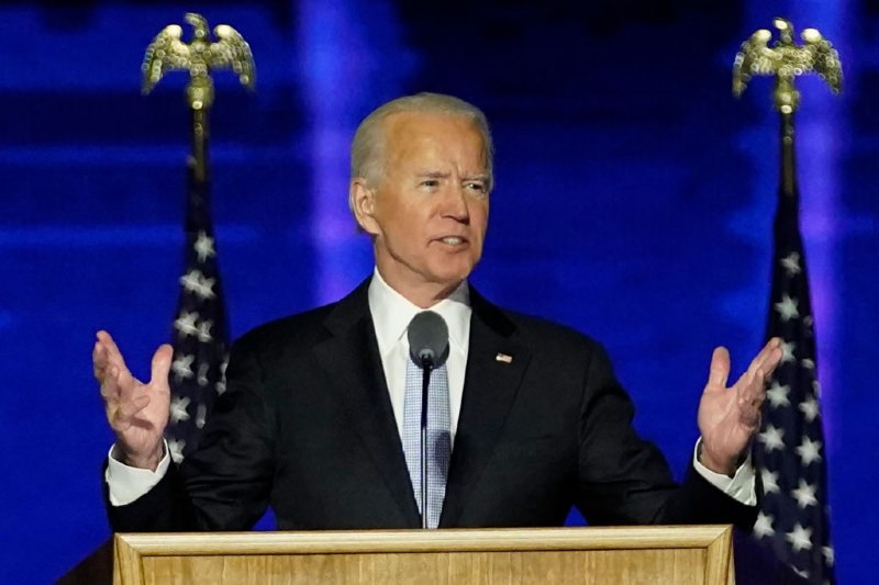 President-elect Joe Biden addresses the nation from the Chase Center (Getty/Pool)