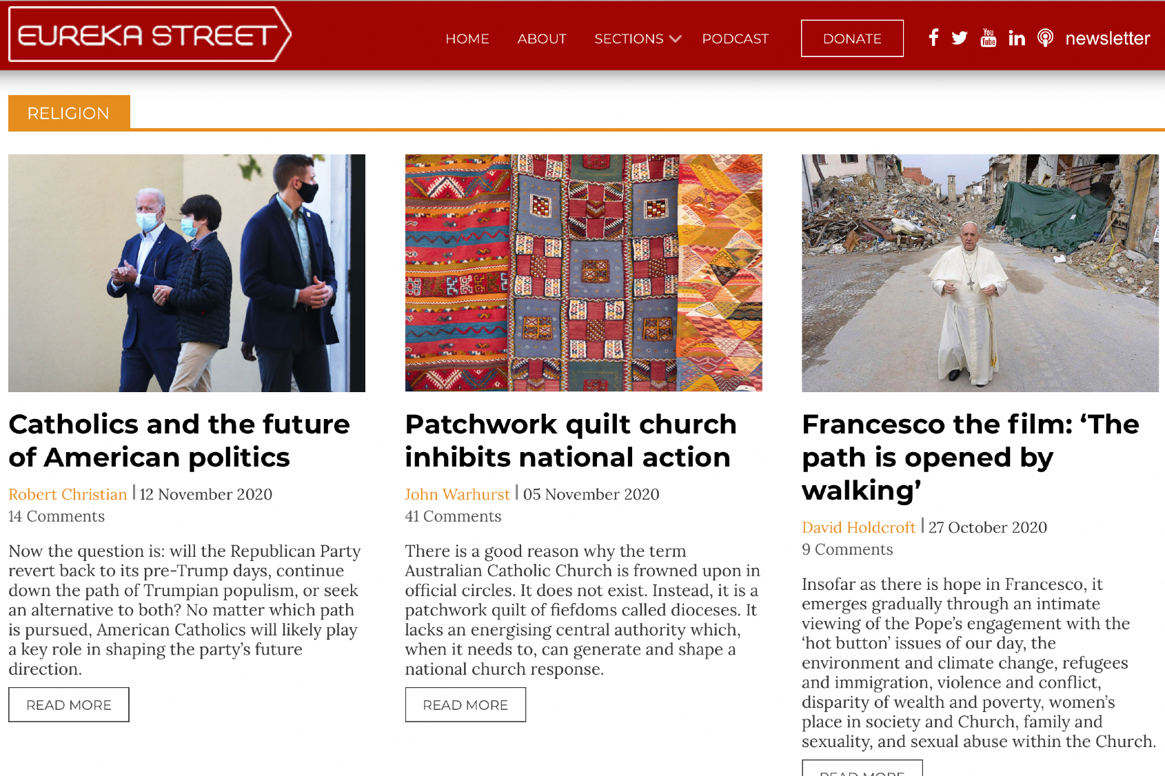 Screenshot of Eureka Street homepage