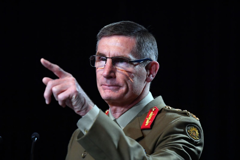Chief of the Australian Defence Force (ADF) General Angus Campbell delivers the findings from the Inspector-General of the Australian Defence Force Afghanistan Inquiry (Getty Pool)