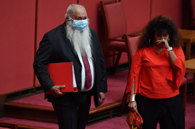 Senator Patrick Dodson and Senator Malarndirri McCarthy arrive in the Senate (Sam Mooy/Getty Images)