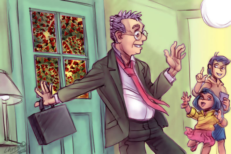 Dad coming inside to greet his kids. Illustration Chris Johnston
