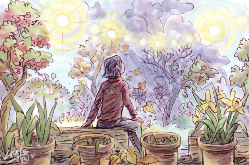Main image:  Woman sitting in garden with passing seasons (Illustration Chris Johnston)