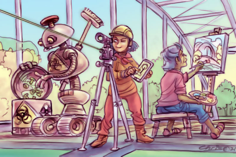 A robot, an engineer and a community artist working on a bridge (Illustration by Chris Johnston)