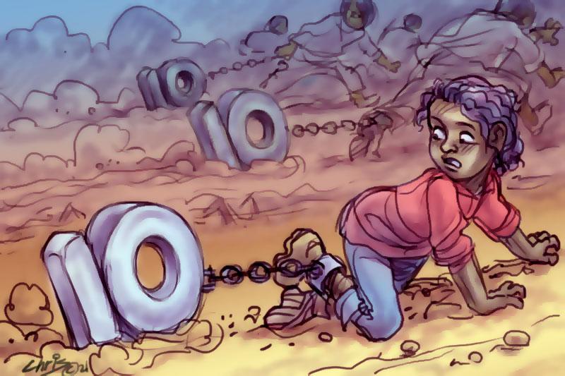 Main image: Children crawling dragging the number ten behind them (Illustration Chris Johnston)