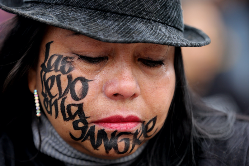 Woman with I carry you in my blood on her face at event for International Day of the Disappeared  (EPA/LEONARDO MUÑOZ)
