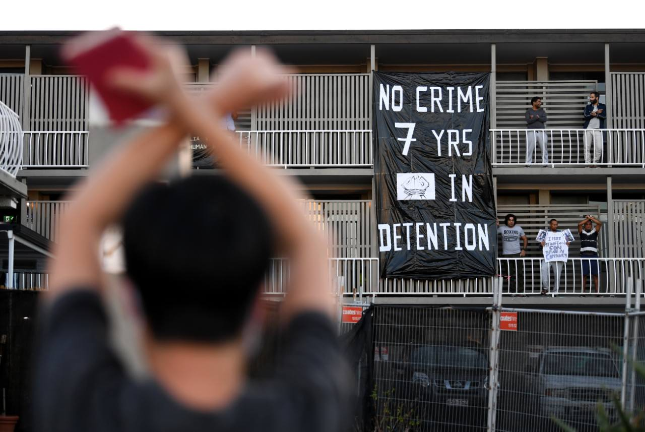 Asylum seeker solidarity protest Brisbane (Photo by Dan Peled/AAP)