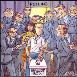 'Voter Influence' by Chris Johnston. Sleazy looking men in suits pester a man as he tries to cast his vote.