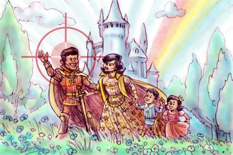 'JFK' by Chris Johnston features the Kennedys in Arthurian garb with Camelot in the back ground. A rifle sight trains on John F.