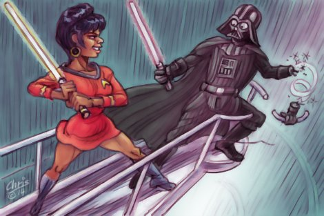 In Chris Johnston's cartoon 'White Star Wars' Lieutenant Uhura battles Darth Vader
