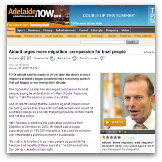 Abbott urges more migration, compassion for boat people (Adelaide Advertiser)