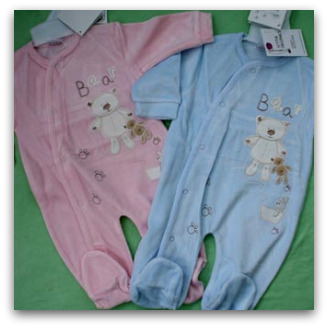 Baby clothes, pink and blue