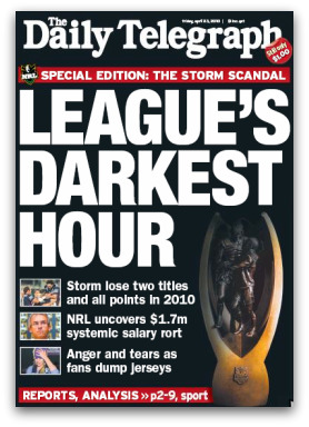 Melbourne Storm fallout, League's Darkest Hour, The Daily Telegraph