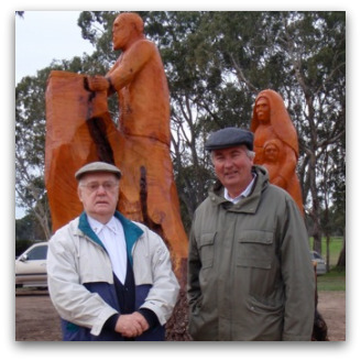 Fr Paul Gardiner SJ and Fr Frank Brennan SJ at the unveiling of the statues at the Julian Tenison Woods Park, Penola, SA