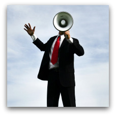 Man with megaphone