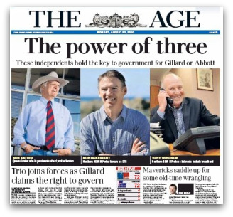 Cover, The Age, Monday 23 August 2010