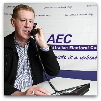Graham Innes, Australia's Disability Discrimination Commissioner and Race Discrimination Commissioner, voting in secret by telephone in Sydney on 5 August